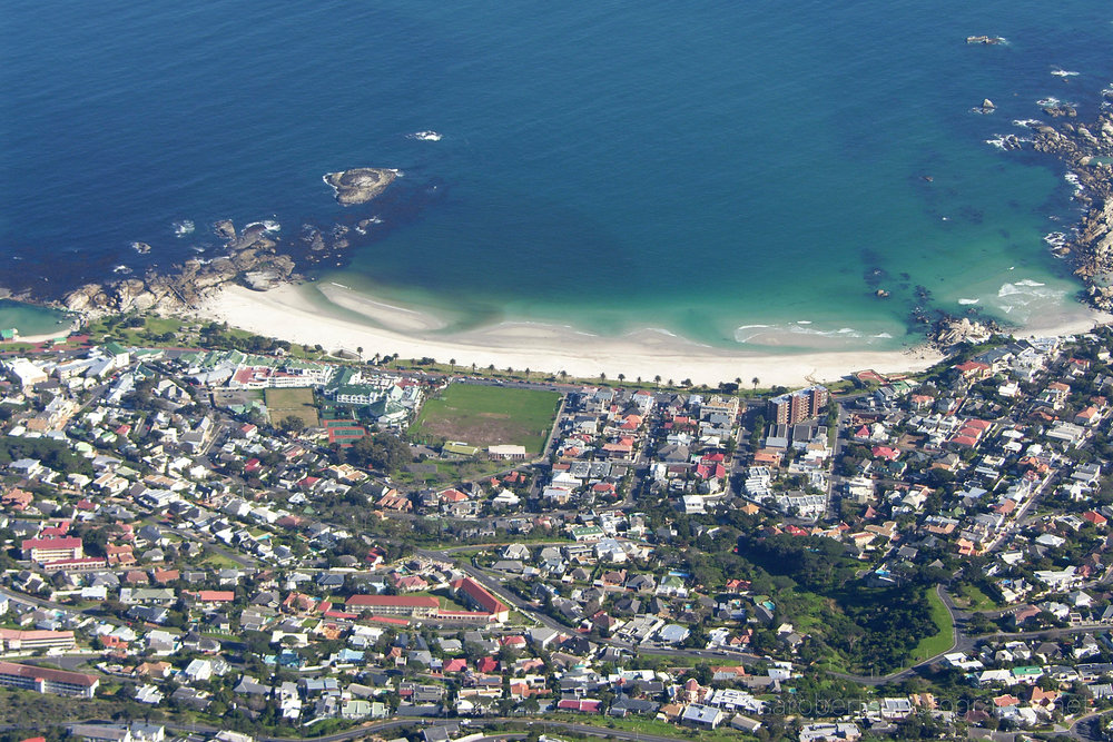 Aerial view of Camp's Bay Beach near Cape Town, Western cape, South Africa