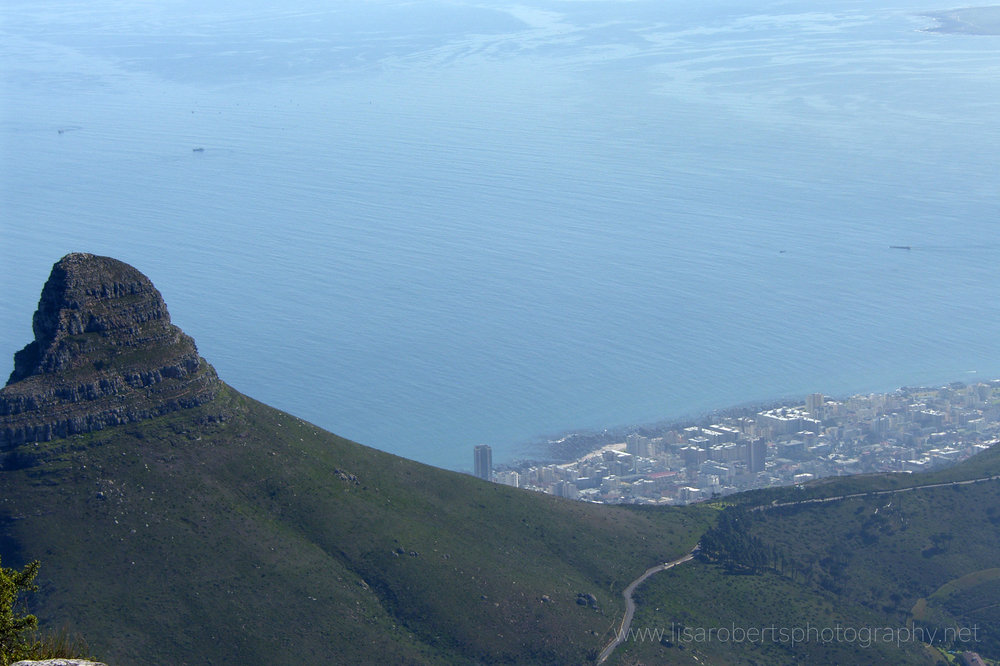 Lions Head View from on top of Table Mountain, Cape Town, Western Cape, South Africa