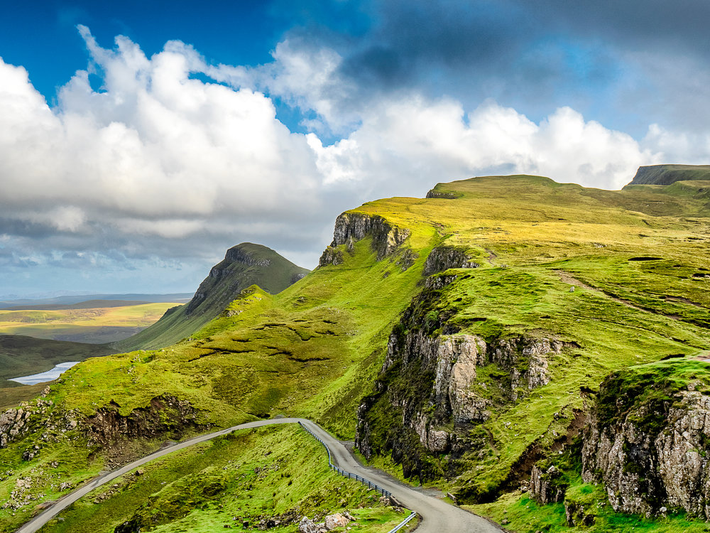 The view from the top of the cliff at Quiraing on the Isle of Skye in Scotland