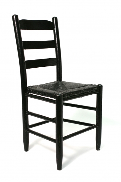 Merveilleux PAINTABLE BLACK WOOD CHAIR WITH RATTAN SEAT