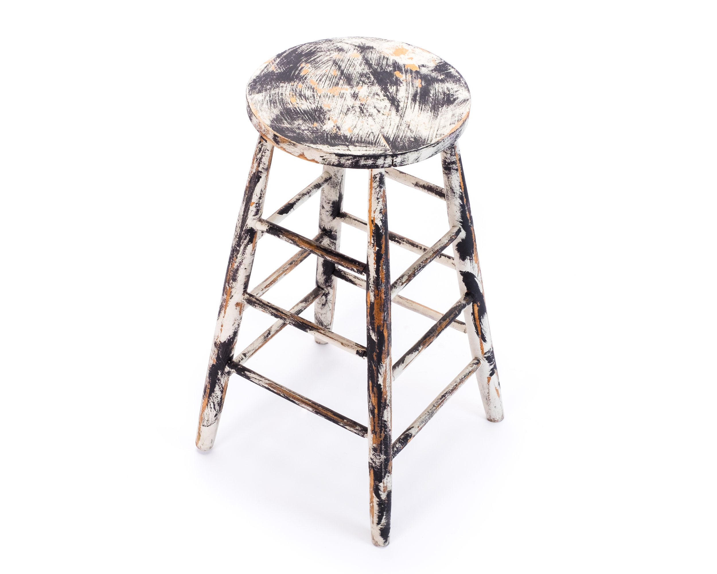Paint Distressed Wooden Bar Stool Hook Props