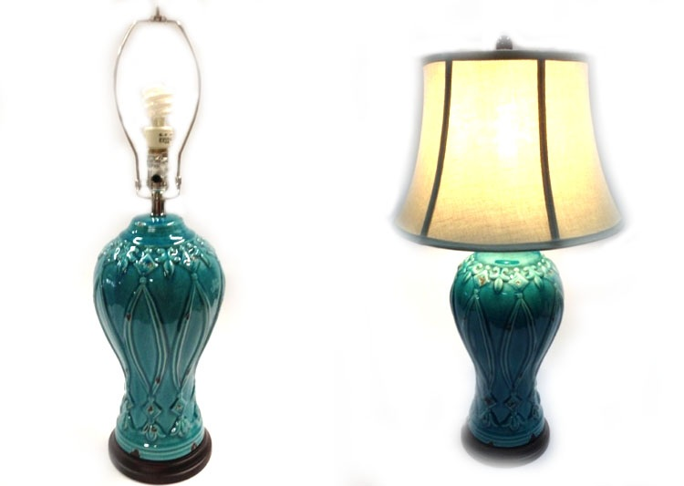 Teal Ceramic Table Lamp Hook Props