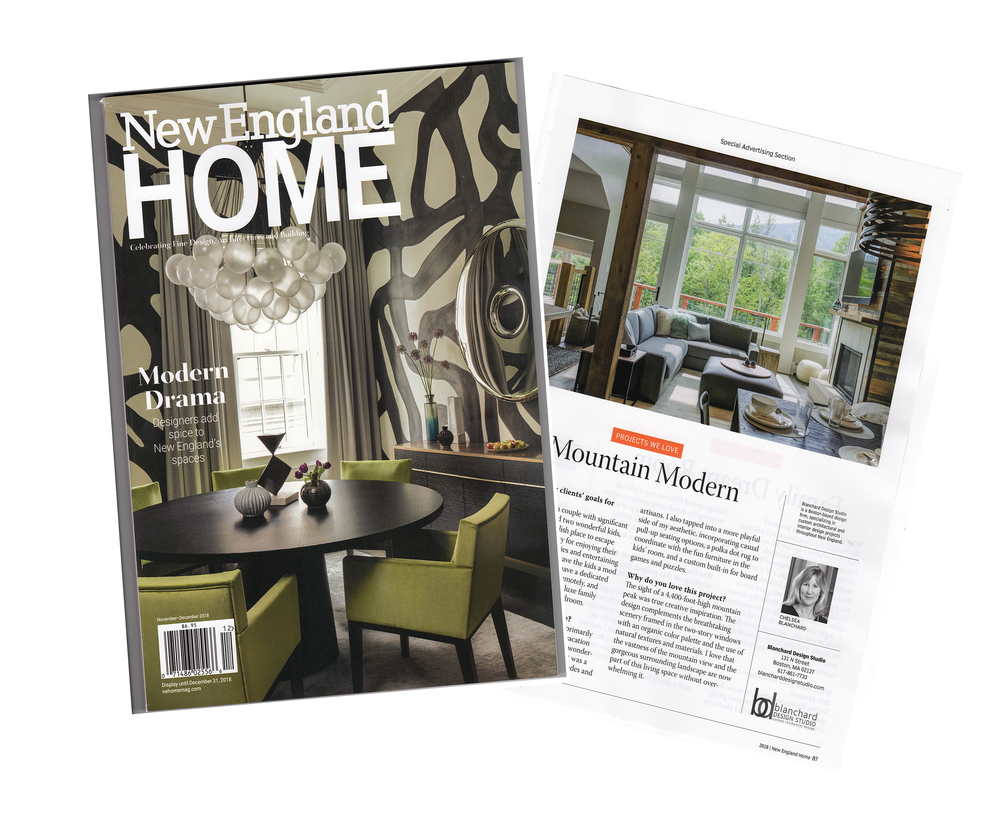New Updates - Blanchard Design Studio's recent project, Mountain Modern, can be seen in the December issue of New England Home magazine. If you haven't had the chance to see the full issue, just click on the image to read more!