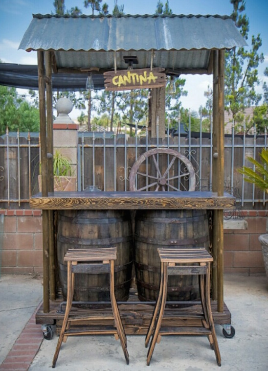 Our mobile bar is rustic and ready for inside or outdoors.
