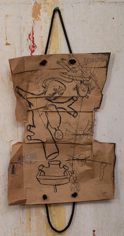 "Zakkir Hussain | Shelter | charcoal and pencil on used paper bag | 14.5"" x 9"" 