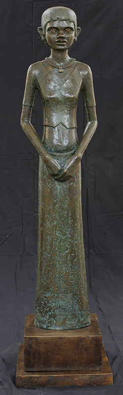 "Girl | Bronze sculpture | 53"" x 13"" x 7"""