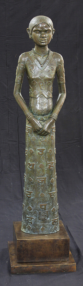 "Girl with Alphabet | Bronze sculpture | 53"" x 13"" x 7"""