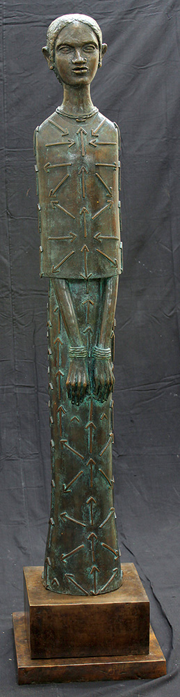 "Girl with Arrows | Bronze sculpture | 70"" x 16"" x 16"" 