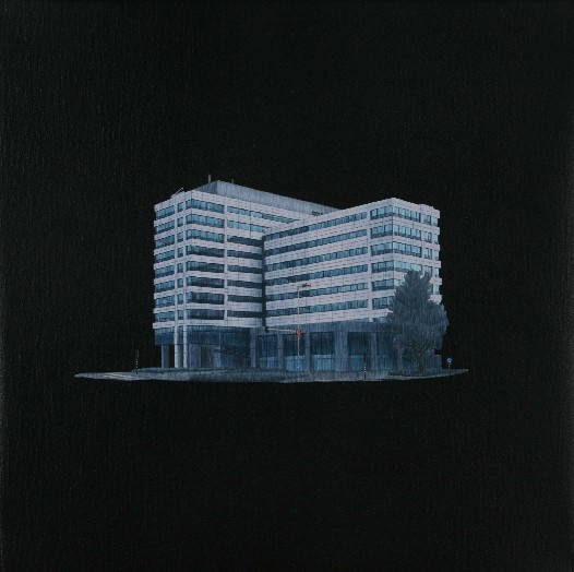 "Praneet Soi | Sloterdijk Building | Acrylic on canvas | 12.5"" x 12.5"" 