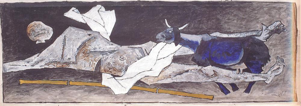 """MF Husain   New Delhi   Oil on canvas   51"""" x 146.5""""   1948"""