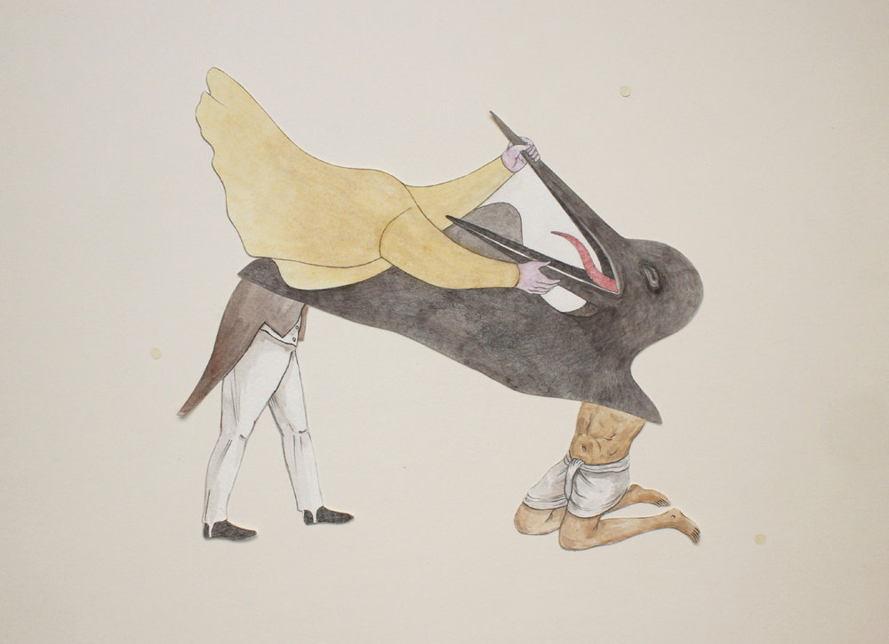 "Shrimanti Saha | Don't Yawn! Medium  : Graphite,pencil colours, water colour, casein, collage on paper | 13.5"" x 18"" 