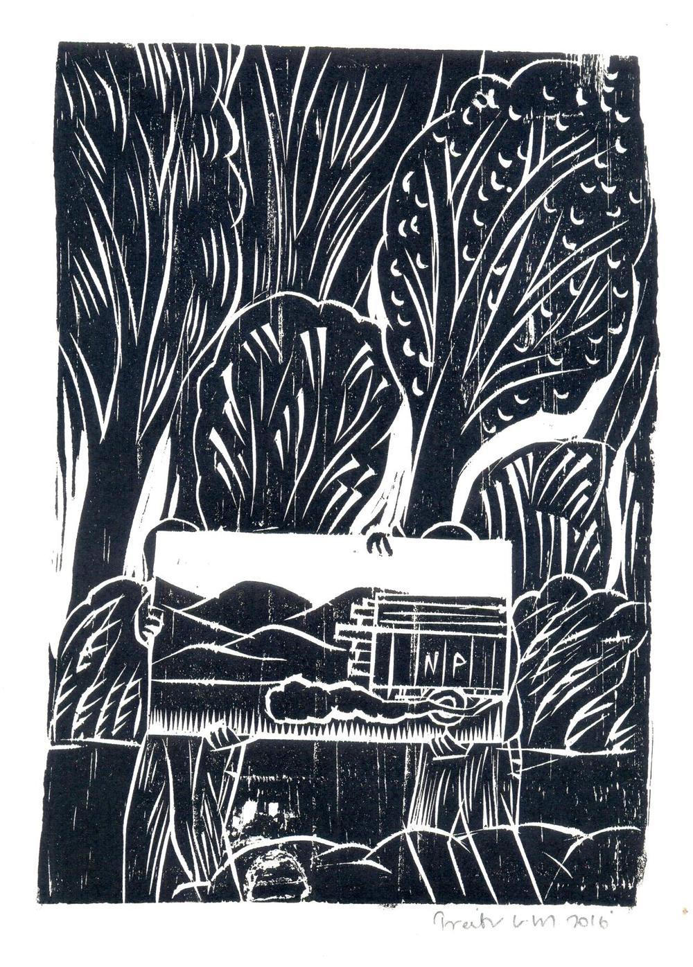 "Treibor Mawlong | NP (National Permit) | Woodcut print | 9.5"" x 7"" | 2016"