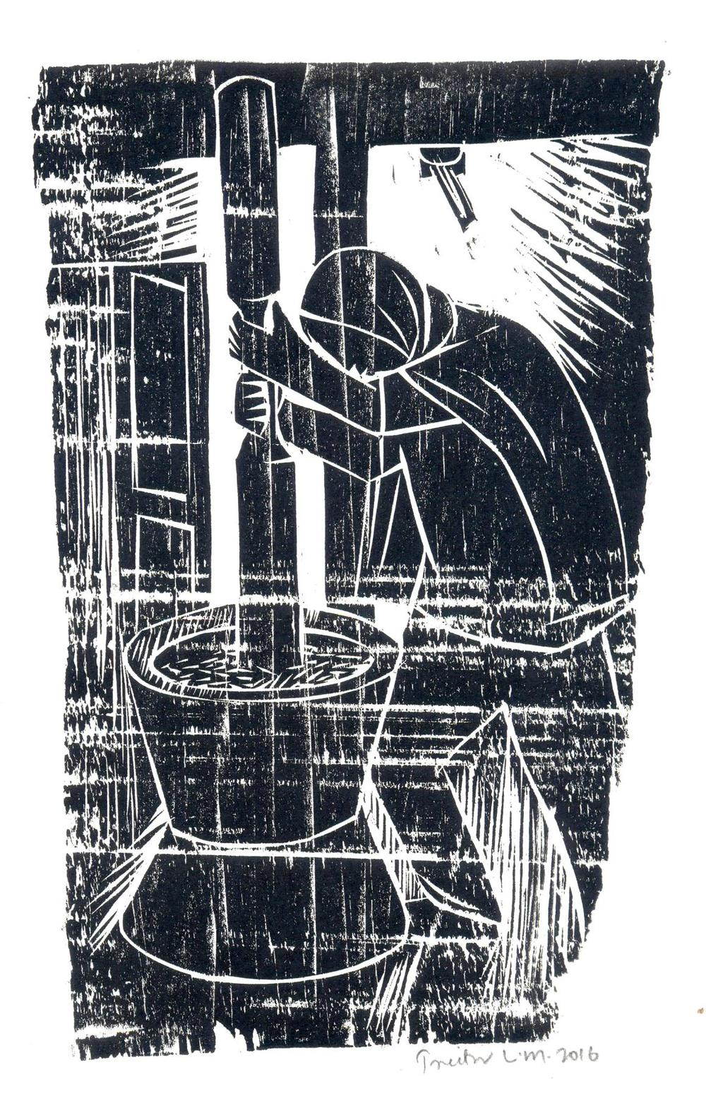 "Treibor Mawlong | The Thresher | Woodcut print | 8.5"" x 5"" 