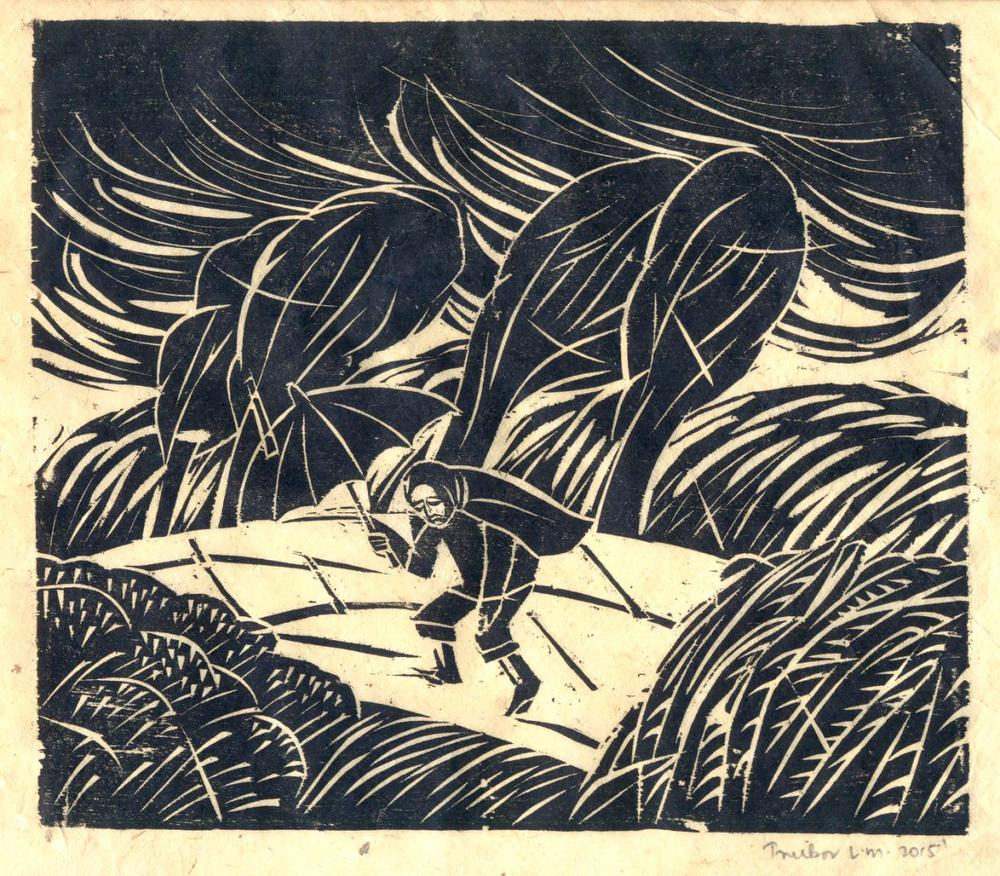 "Treibor Mawlong | The Journey | Woodcut print | 8"" x 9"" 