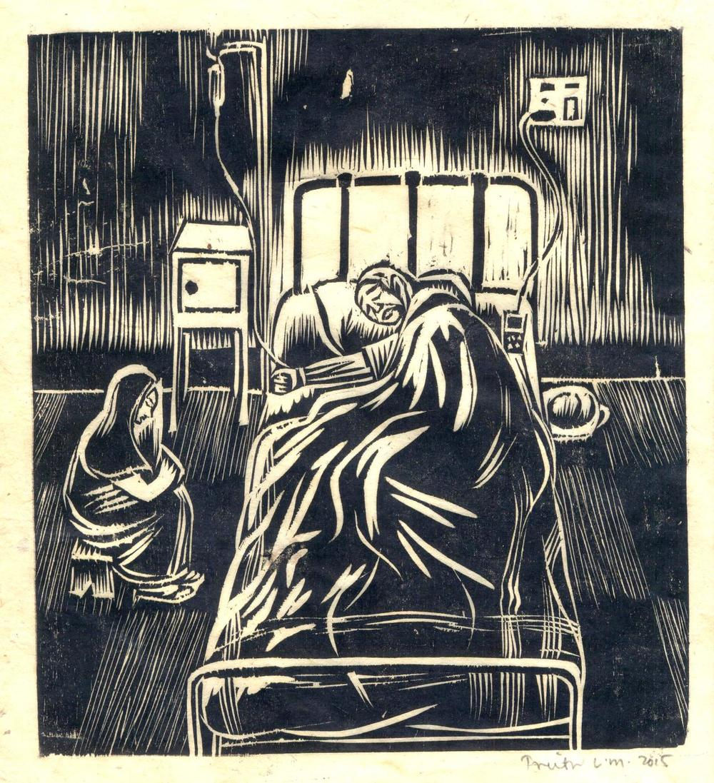 "Treibor Mawlong | The Patient | Woodcut print | 8.5"" x 7.75"" 