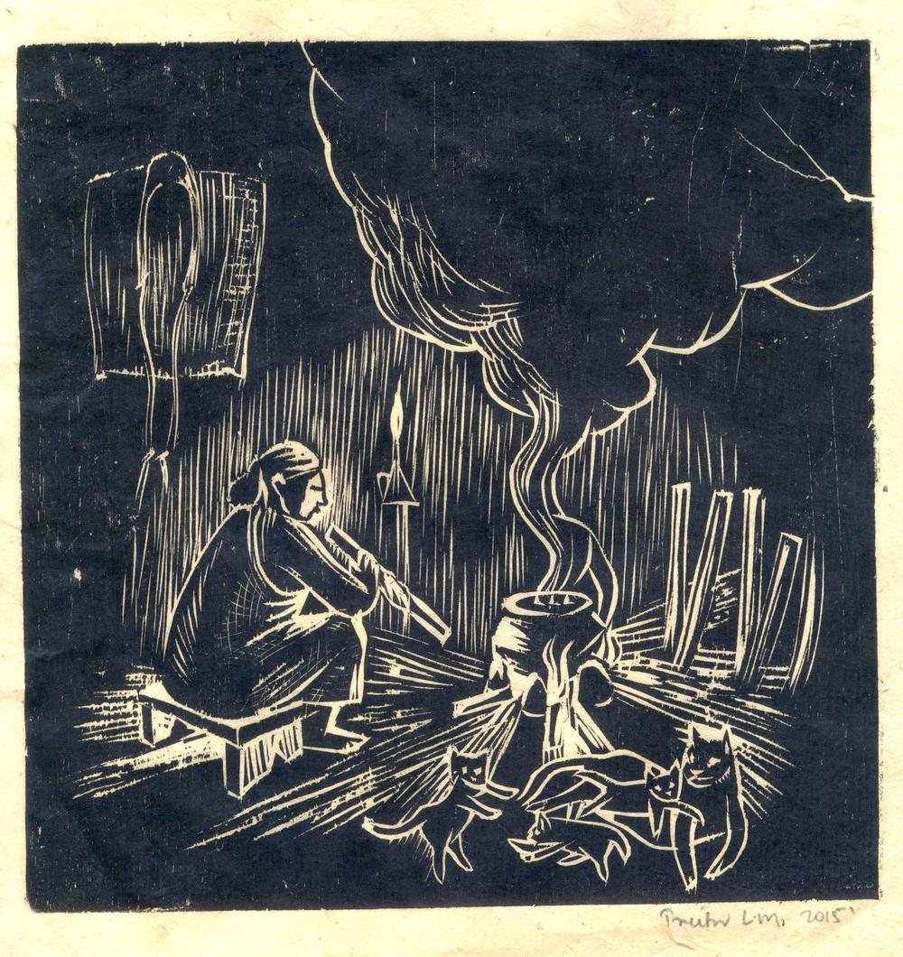 "Treibor Mawlong | The Hearth | Woodcut print | 8"" x 8"" 