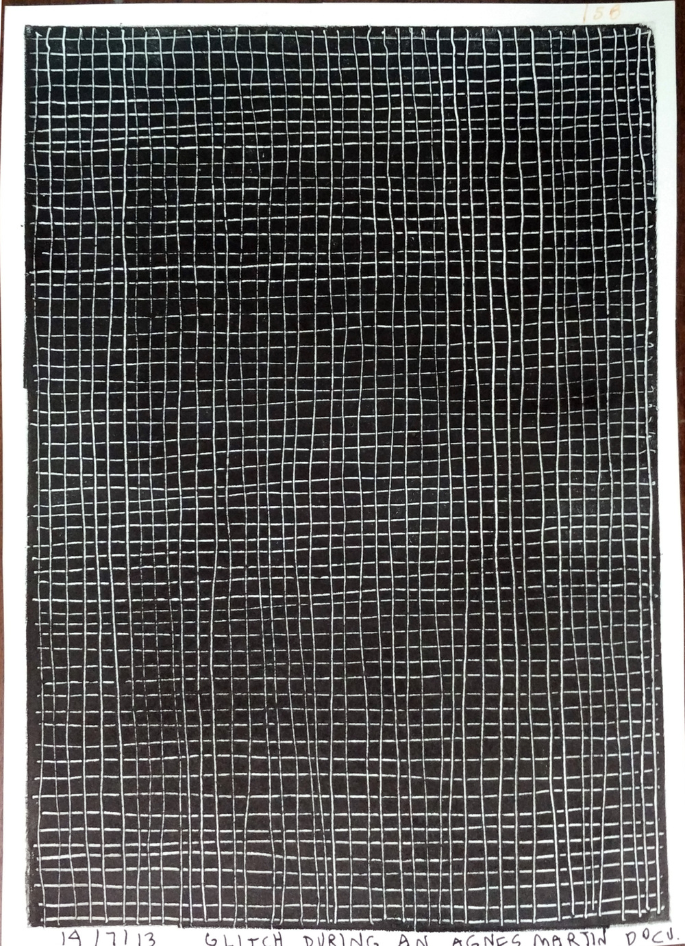 "Renuka Rajiv | Glitch During An Agnes Martin Doc. | Monoprint | 8.5"" x 6"" 