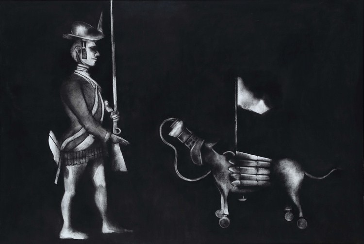 "KM Madhusudhanan | The Marx Archive - Logic of Disappearance | Charcoal on paper | 40"" x 58"" 