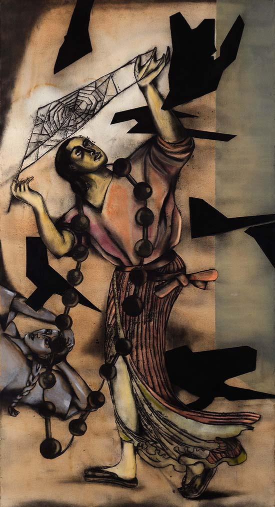 "Anju Dodiya | Arachne with Birds | W/C, Charcoal and Soft Pastel on paper | 84"" x 45"" 