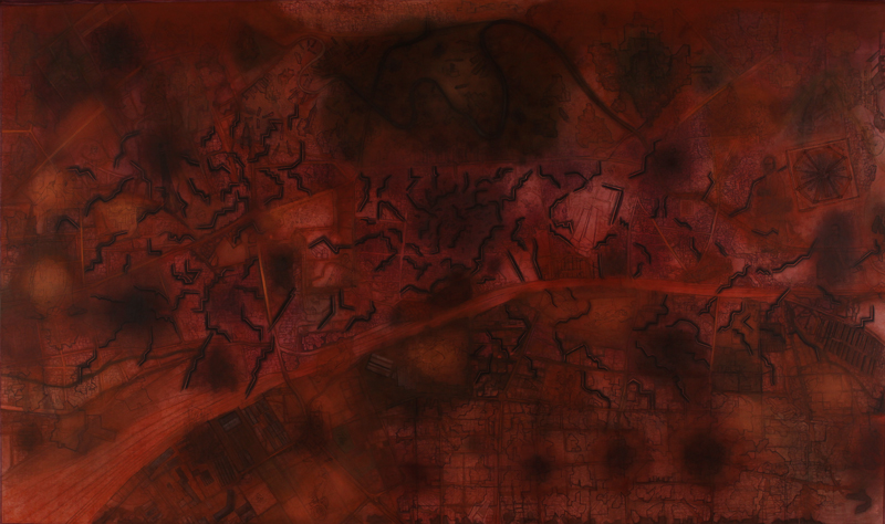 City of Statues | Casein with pigments and soft pastels on canvas | H: 206 cm, W: 358 cm | 2011