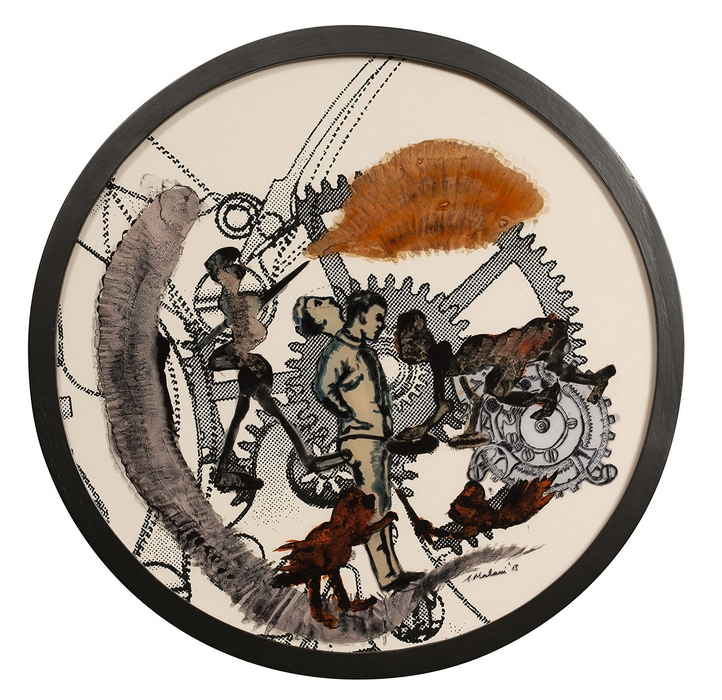 "Nalini Malani | Time | Reverse painted acrylic, ink, and enamel on acrylic sheet on specially printed Hahnemuhle Bamboo paper | 18"" Diameter 
