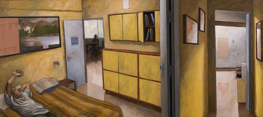 "Sudhir Patwardhan | Passage | Acrylic on canvas | 36"" x 80"" | 2016"