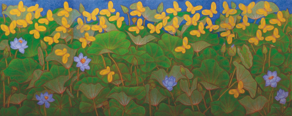 "Yellow Butterflies and Blue Lotus | Oil on canvas | 78"" x 192"" 
