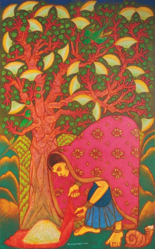 "Fertility Tree ‐ Beeja Vriksha | Oil on canvas | 78"" x 48"" 