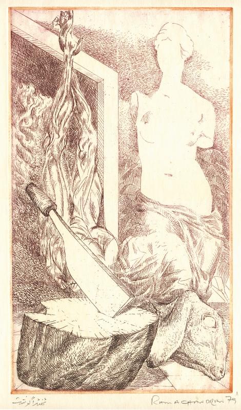 "Thanda Gosht | Etching | 8"" x 5"" | 1979"