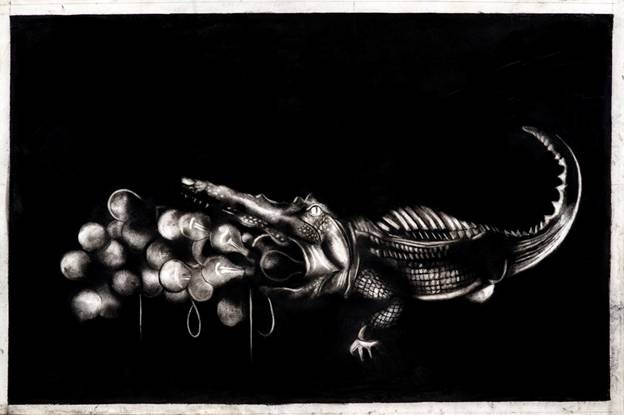 "Penal Colony | Charcoal on paper | 36"" x 56"" 