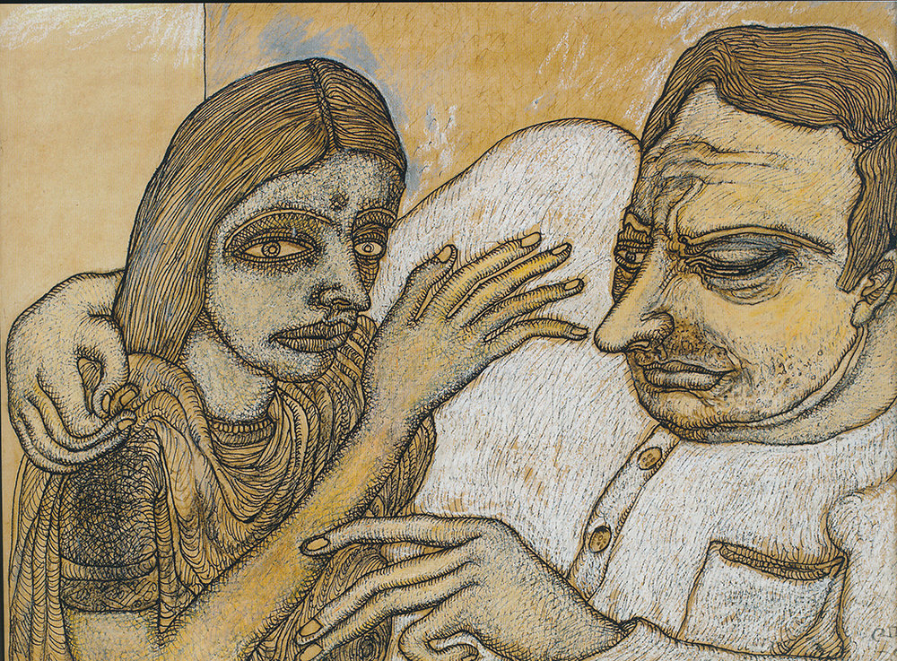 Jogen Chowdhury | Man and Woman (with Yellow and Grey) | Ink and oil pastel on paper | 38 x 28 cm | 1990