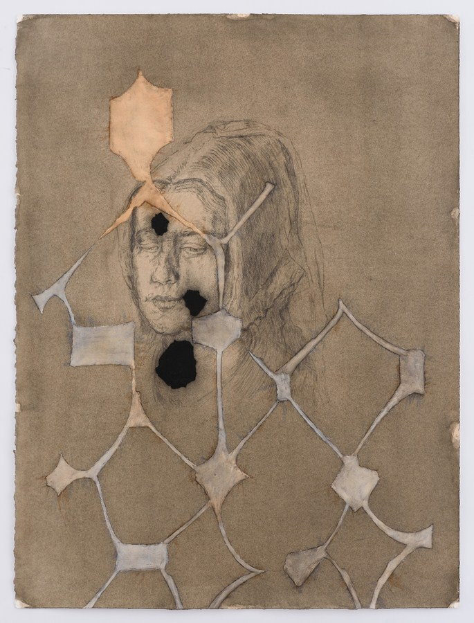 "Untitled - VII (German Girlfriend) | Watercolour, gesso, charcoal, pencil, soft pastel and light molding paste on paper | 30"" x 22.5"" 