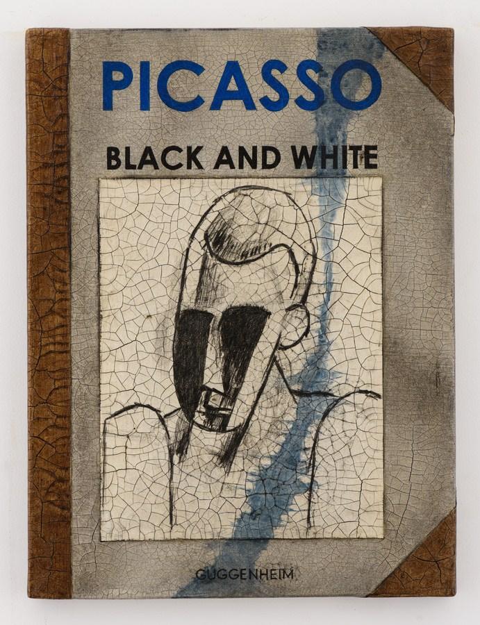 "Atul Dodiya | Untitled – II (Big Book) | Oil, acrylic, crackle paste, charcoal, pencil on canvas | 20"" x 15"" | 2017"