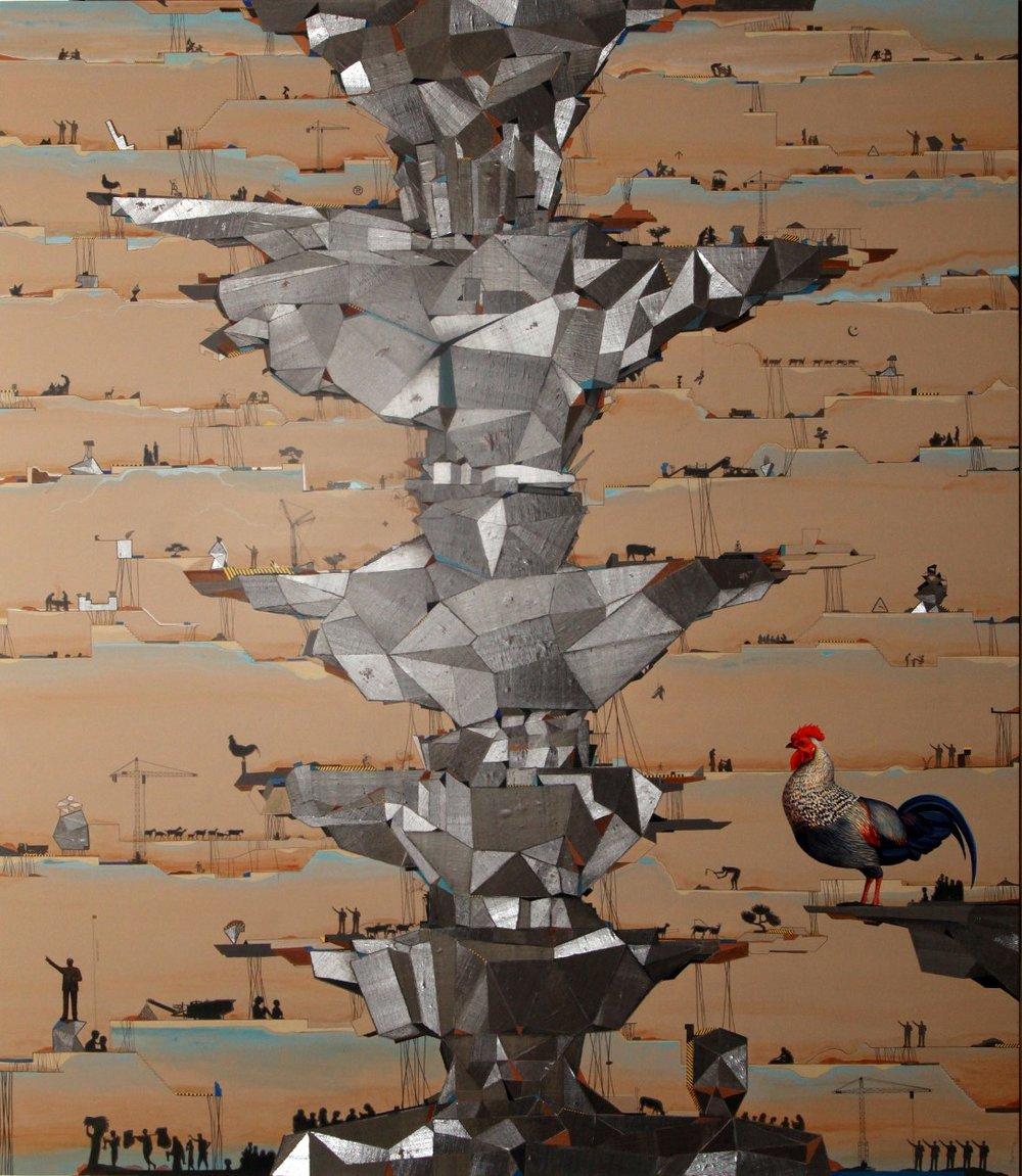 "Jagannath Panda | Acrylic, fabric, glue | 90"" x 78"" | 2017"