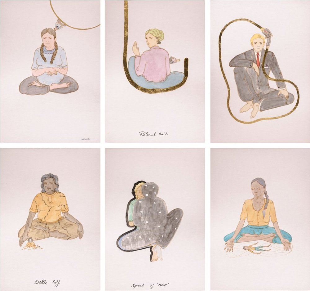 "N.S. Harsha  | Untitled | Watercolour & gold leaf on paper | 8.25"" x 6"" (Each) 