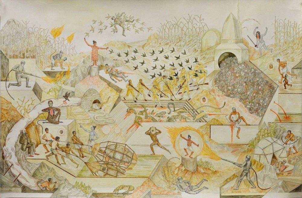 "Shrimanti Saha | The Hunt | Graphite,pencil colours, water colour, casein, collage on paper | 37"" x 58"" | 2017"