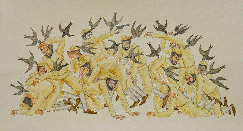"Shrimanti Saha | The Bird Attack | Graphite,pencil colours, water colour, casein, collage on paper | 8"" x 14.5"" | 2017"