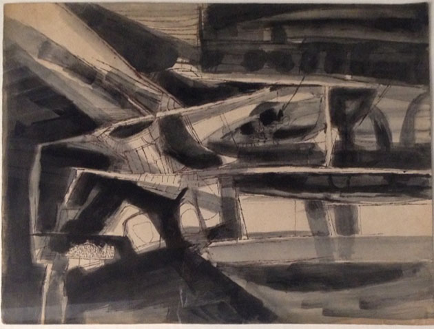 "Ram Kumar | Untitled | Acrylic on paper | 11"" x 14"""