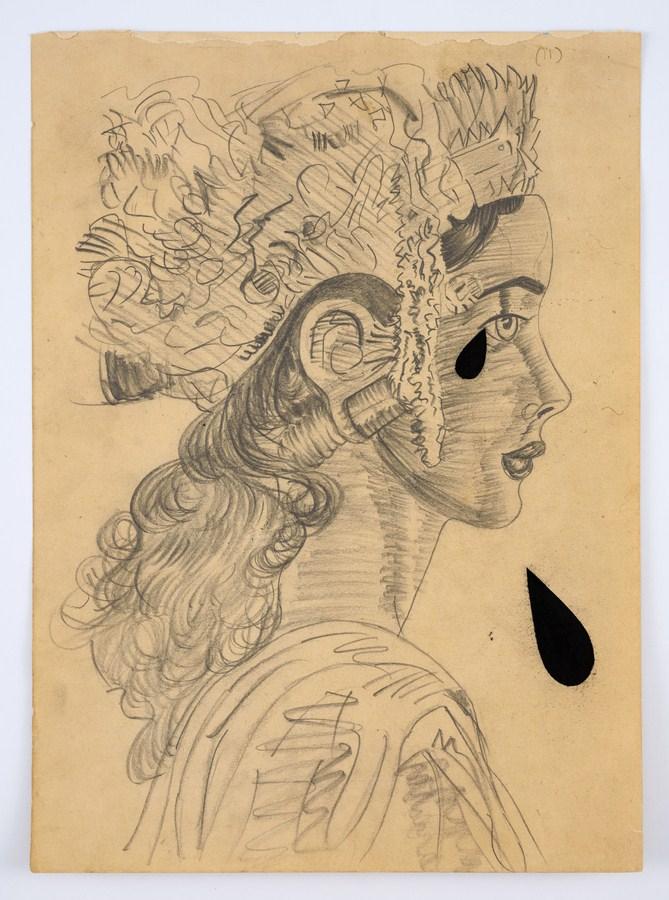 "Atul Dodiya | Untitled - XII (Ghatkopar Girlfriend) | Pencil and soft pastel on paper | 14.75"" x 10.75"" | 2016"