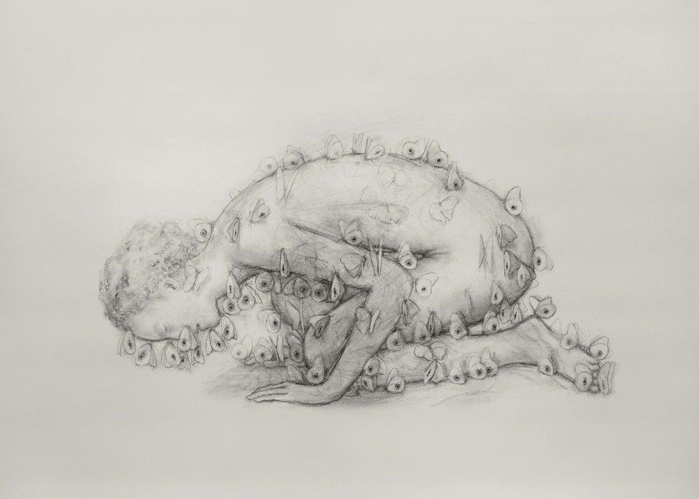 "Juul Kraijer| Untitled | Charcoal on paper | 39.5"" x 55.5"" | 2015"