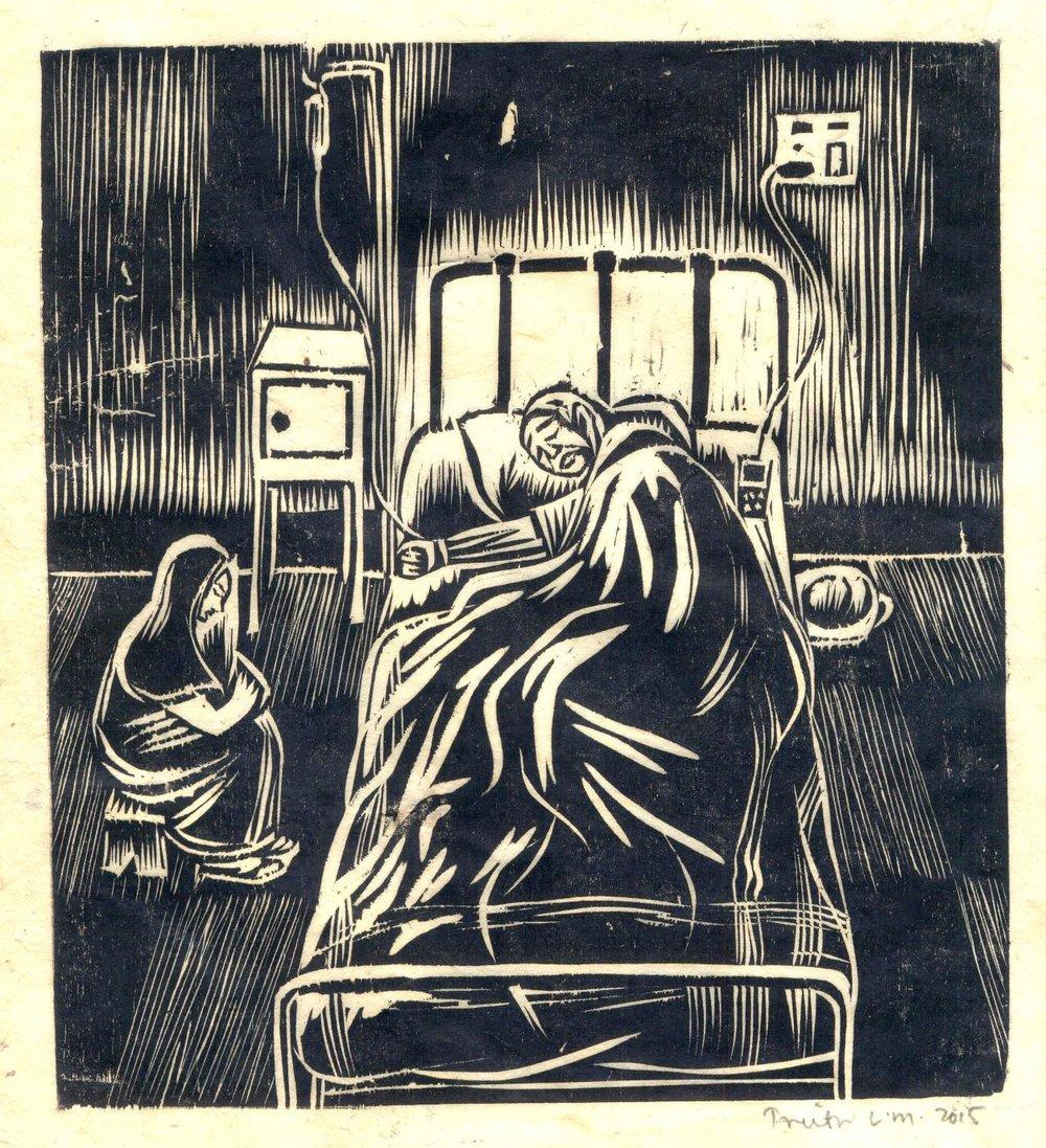 "Treibor Mawlong | The Patient | Woodcut print | 8.75"" x 7.5"" | 2016"