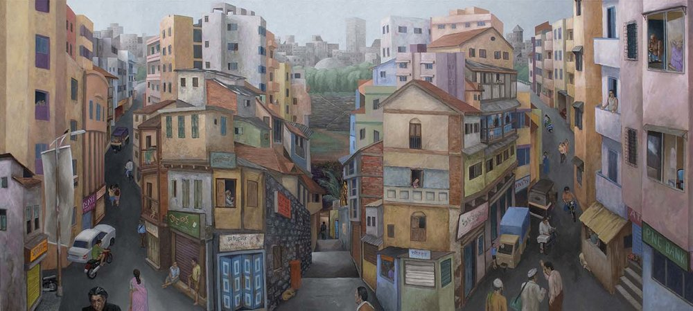 "Another Day in the Old City | Acrylic on canvas | 48"" x 108"" 