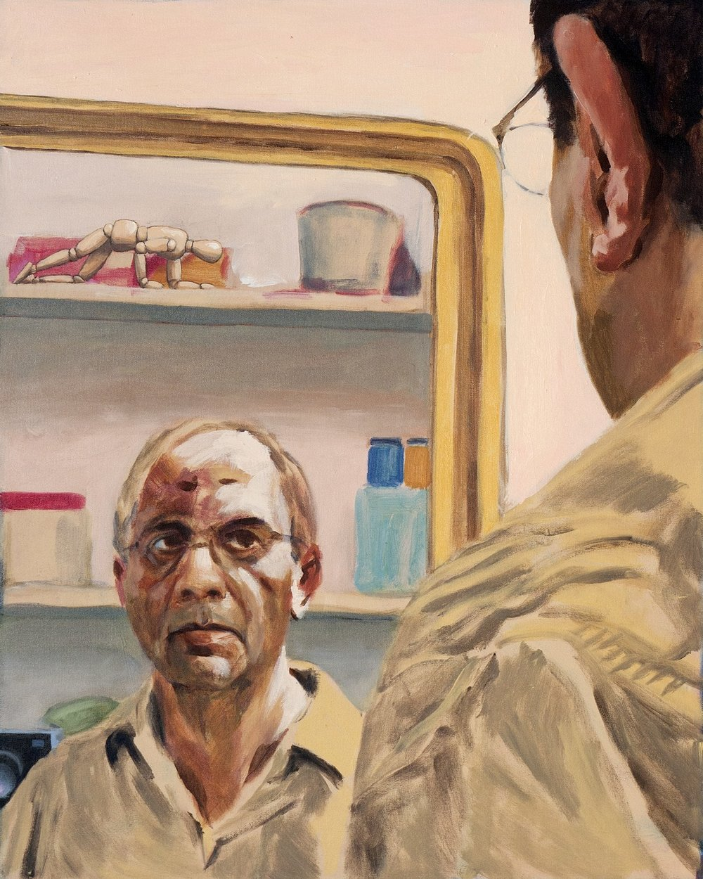 "Self-Portrait with Mirror and Camera | Acrylic on canvas  | 24"" x 30"" 