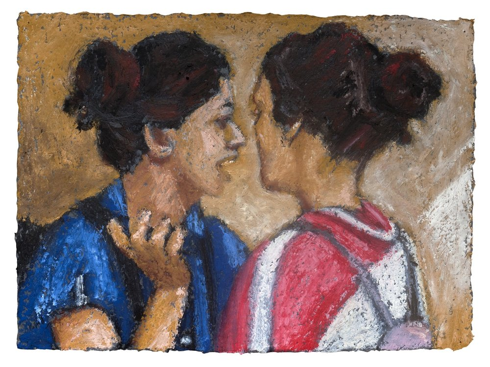 "Friends | Acrylic & oil stick on handmade paper | 12"" x 16"" 