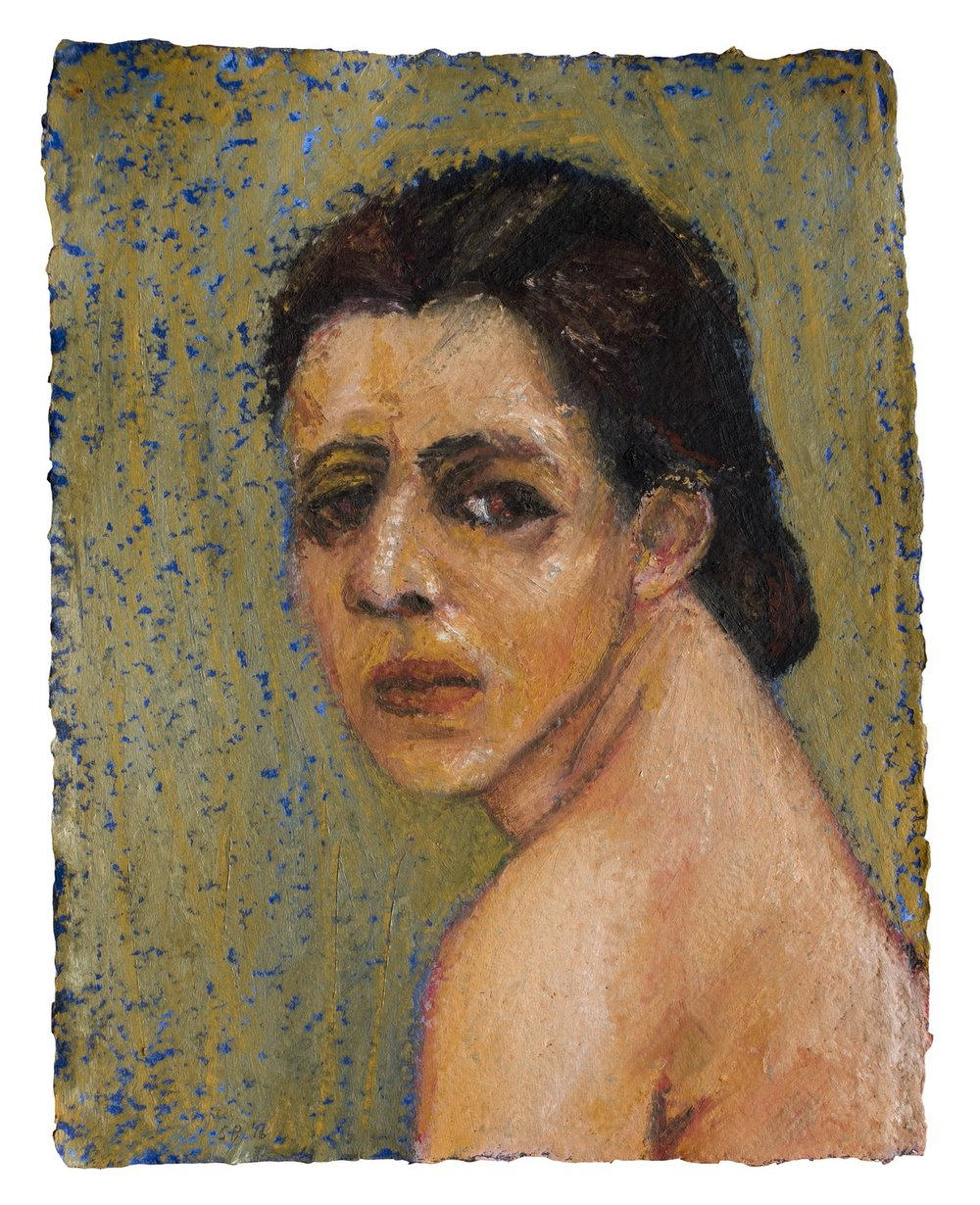 "Weary | Acrylic & oil stick on handmade paper | 16"" x 12"" 
