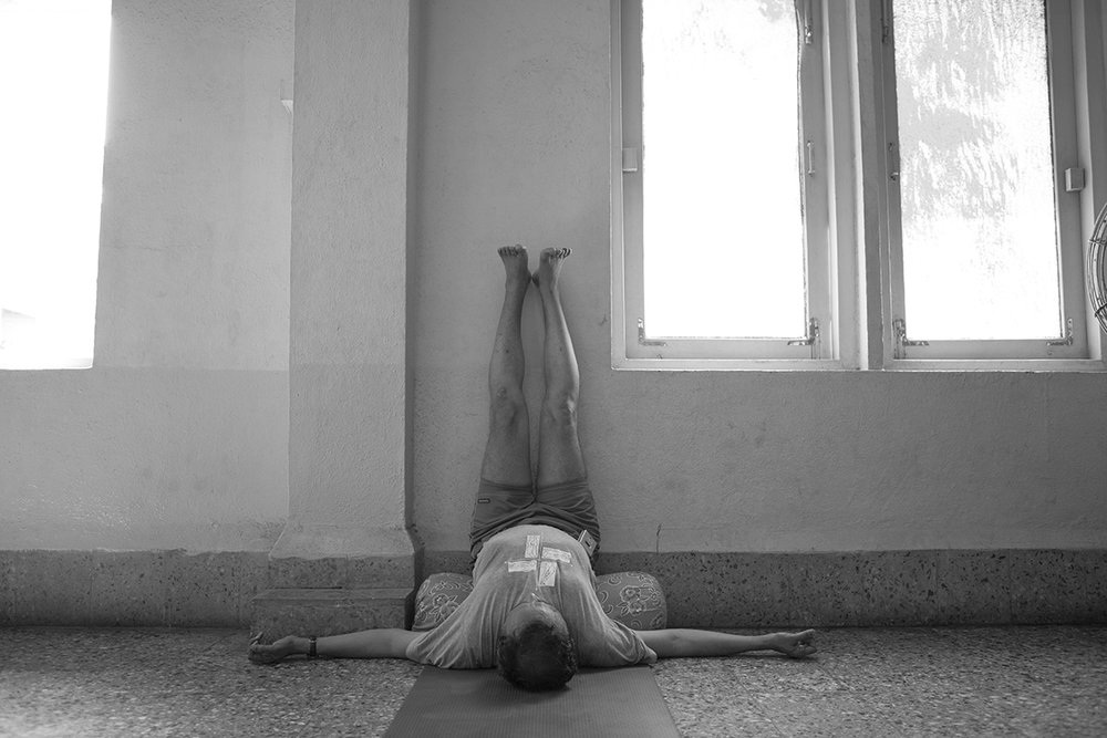 """Fr. Joseph H. Pereira practicing Iyengar yoga 1 Church of Our Lady of Mount Carmel, Mumbai 