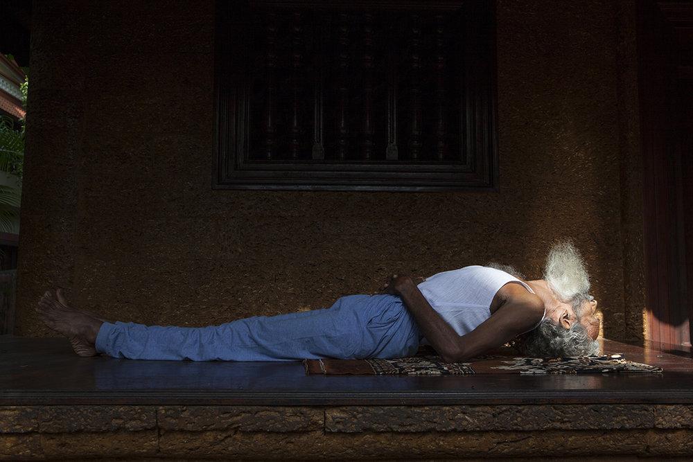"K.V. Krishnan practicing Yoga Hindustan Kalari Sangam, Calicut | Archival Pigment Ink on Hahnemühle FineArt Photo Rag Paper | 11"" x 16.5"" | 2014"