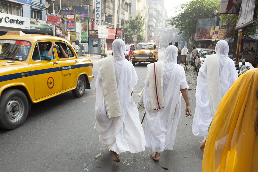 """Swetamber Jain nuns, walking to a morning discourse  Kolkata 