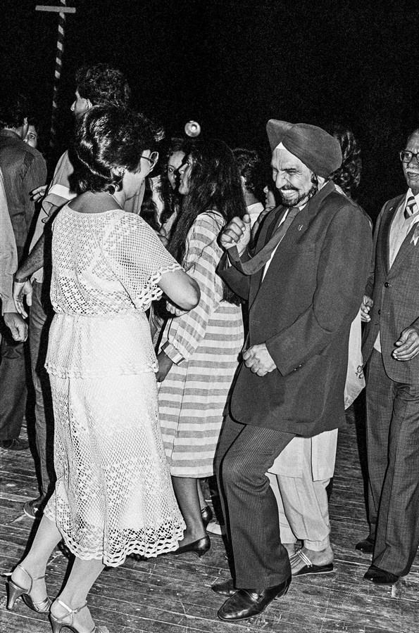 "Rocking and rolling at the New Year's Eve Ball Bombay 1985 | Archival pigment print | 35"" x 24"""