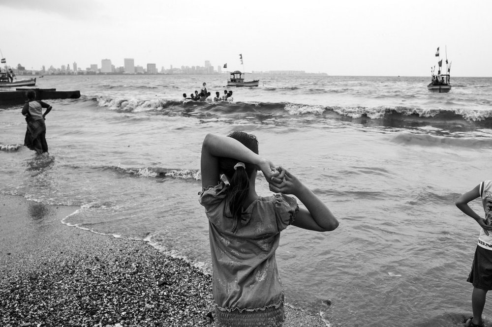 "The girl and the boy Mumbai 2015 | Archival pigment print | 24"" x 35"""
